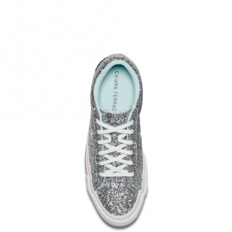 Chira Ferragni x Converse One Star Eyes Glitter Silver Womens