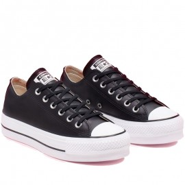Converse Black All Star Leather Platform Low Top Womens