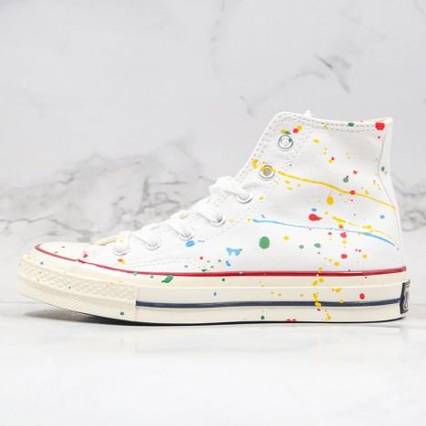 Converse All Star 1970s X Diy Paint Splatter Graffiti White High Top Shoes
