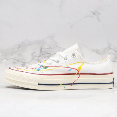 Converse All Star 1970s X Diy Paint Splatter Graffiti White Low Top Shoes