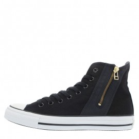 Converse All Star Gold Side Zip High Tops Shoes Black