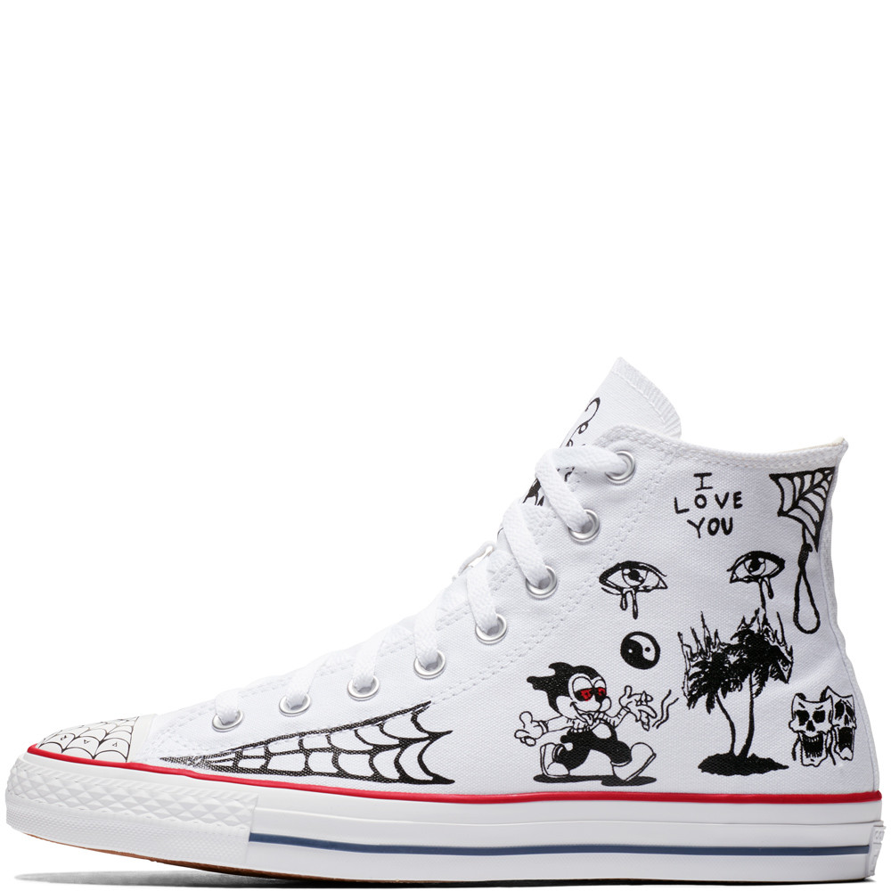 Converse All Star Pro Sean Pablo White High Tops Chuck Taylor