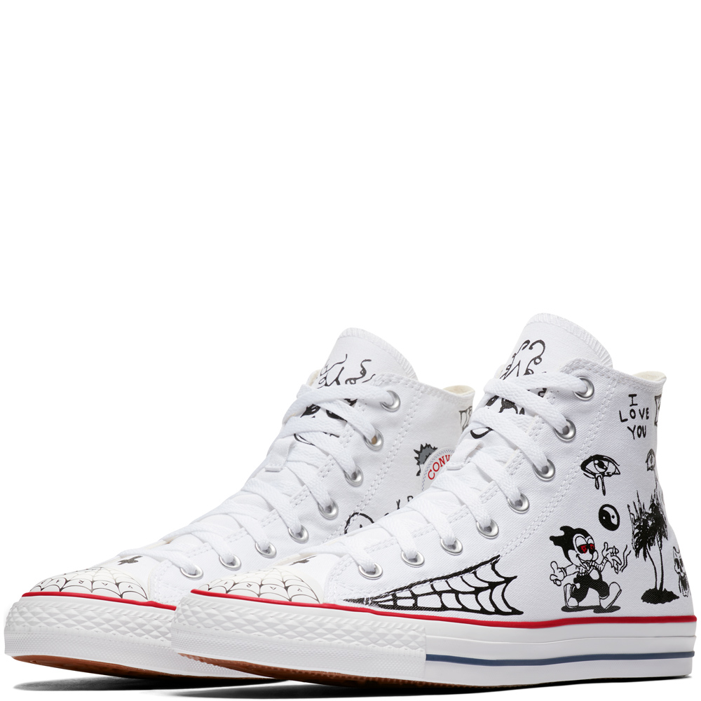 9c91b77b0dcd Converse All Star Pro Sean Pablo White High Tops Chuck Taylor