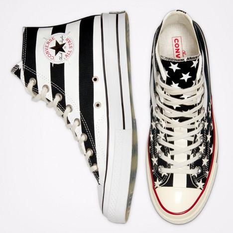 Converse American Flag Stripe Stars Black White