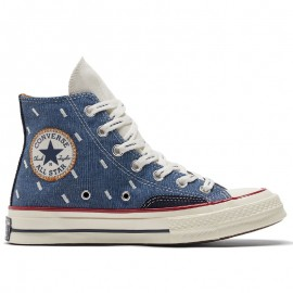 Converse Blue Denim Embroidery High Tops
