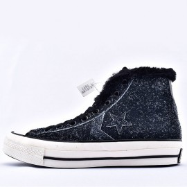 Converse Chuck 70 Fleece Leather Ox Black High Top Sneakers