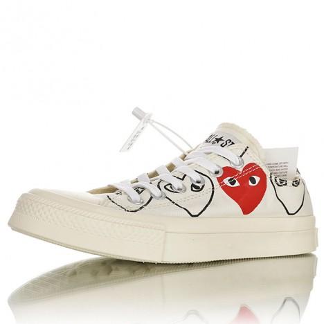 Converse Chuck 70s Comme Des Garcons Play Multi-heart Low White