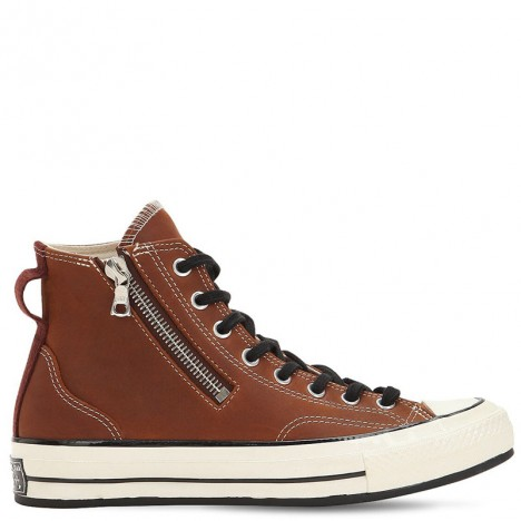 Converse Chuck Taylor 1970s Riri Side Zip Brown Leather High