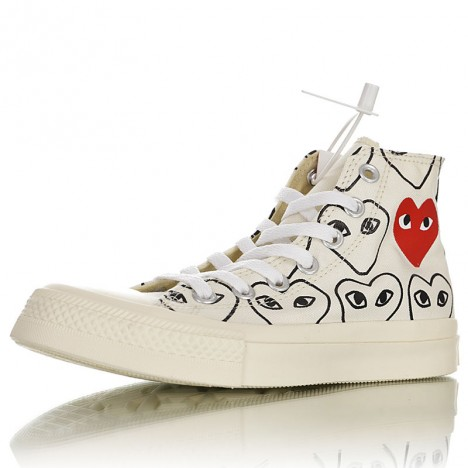 Converse Chuck Taylor All-star 70s Hi Comme Des Garcons Play Multi-heart White