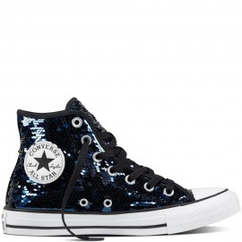 a20cd647e67c Converse Chuck Taylor All Star Sequin Blue Glitter Womens Shoes High ...