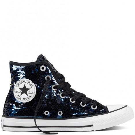 Converse Chuck Taylor All Star Sequin Blue Glitter Womens Shoes High