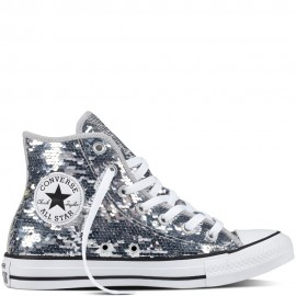Converse Chuck Taylor All Star Sequin Womens Sliver Glitter Midnight