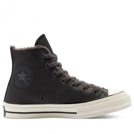 Converse Cozy Club Chuck 70 Warm Lining Leather Black High Tops