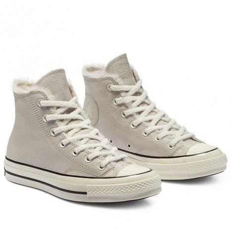 Converse Cozy Club Chuck 70 Warm Lining Leather Grey High Tops