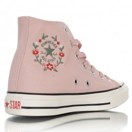 Converse Embroidered Floral Side Zip High Top Pink