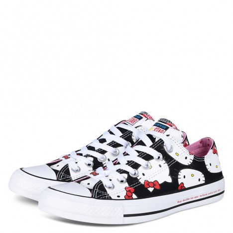 Converse Hello Kitty Black Low Tops Chuck Taylor Shoes