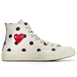 Converse Play CDG Converse Polka Dot Red Heart All Star High White