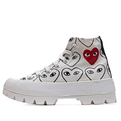 Converse Play Comme Des Garcons Womens Chuck Taylor All Star Lugged Hi Top White Sneakers