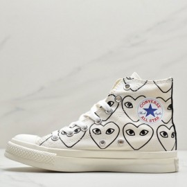 Converse x CDG PLAY x SMILEY Chuck Taylor High Sneakers White