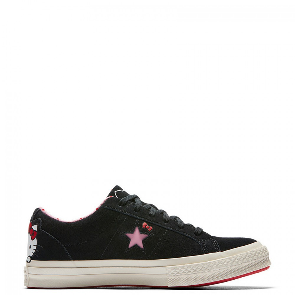 2aa8eca910d3a7 Converse x Hello Kitty One Star Low Top Black Womens Shoes