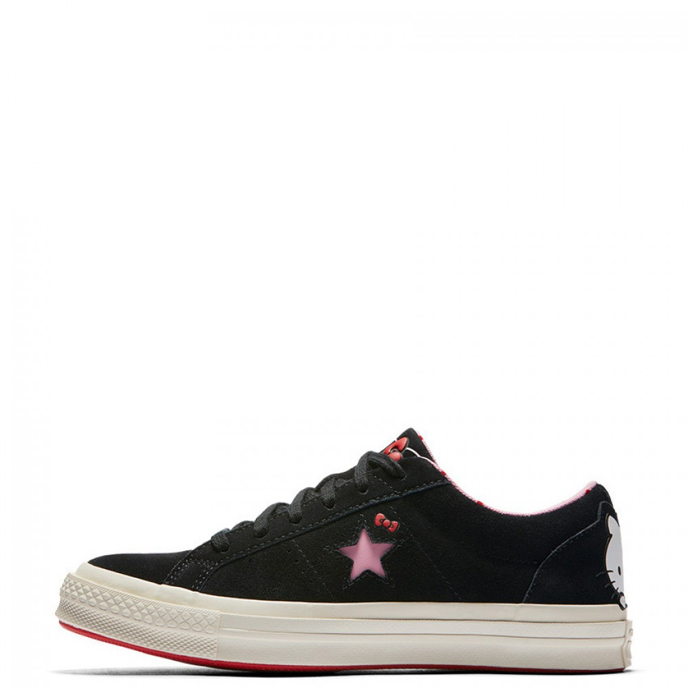 07af231659f0 Converse x Hello Kitty One Star Low Top Black Womens Shoes
