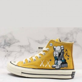 Converse x KAWS Yellow Chuck Taylor High Tops Shoes