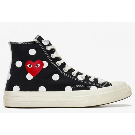 Converse x Play CDG Converse Polka Dot Red Heart All Star High Black