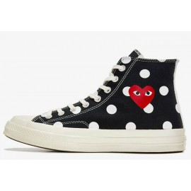 Converse x Play CDG Converse Polka Dot Red Heart All Star High Black