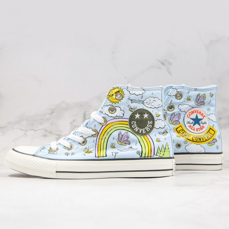 Kids Girls Converse Chuck Taylor All Star Camp Agate Blue High Top Shoes