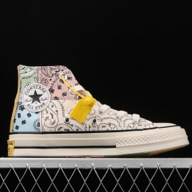 Offspring Wraps Converse Chuck 70 in Patchwork Paisley Pattern Rainbow High Top Shoes