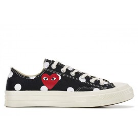 Play Comme des Garcons Converse Polka Dot Red Heart Chuck Taylor All Star 70 Low Black