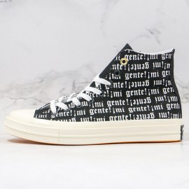 Retro Converse J Balvin Willy William 3D Print White Letter High Black Canvas Shoes