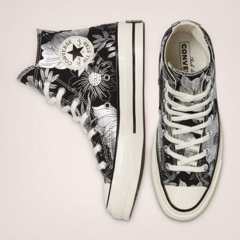 Unisex Converse Black Silver Egret Chuck 70 Vintage Floral High Top Shoes
