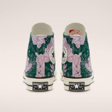 Unisex Converse Green Silver Egret Chuck 70 Vintage Floral High Top Shoes