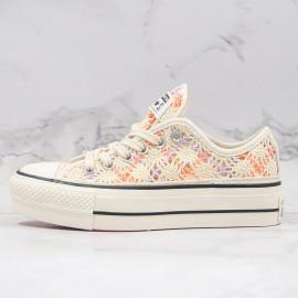 Womens Boho Crochet Converse Platform Chuck Taylor All Star Low Top
